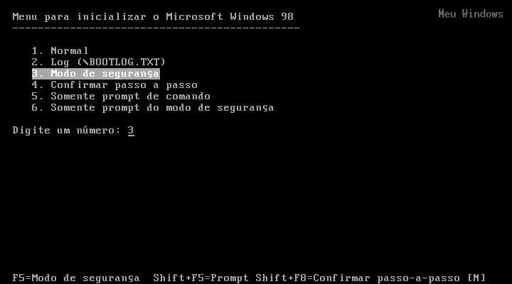 Como iniciar o Windows 98 no modo de segurança 1