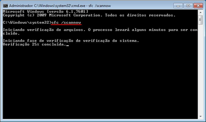 Este comando vai verificar e reparar os arquivos do sistema no Windows 7 se forem encontrados problemas.