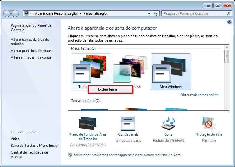 Clique com o botão direito no tema que você deseja remover e selecione a opção Excluir temas no windows 7.
