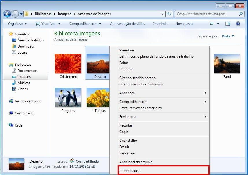Clique com o botão direito do mouse no arquivo e selecione Propriedades para ocultar arquivos ou pastas no Windows 7.