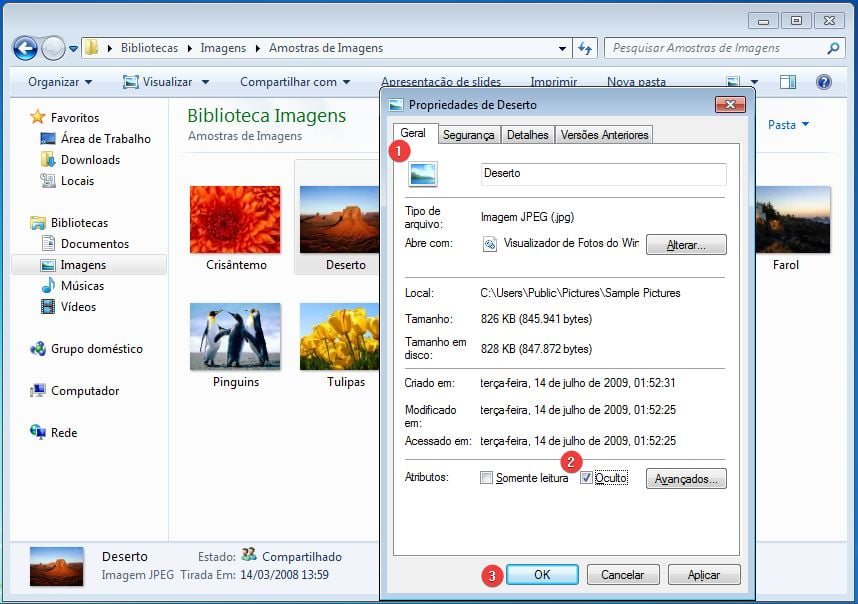 Marque a caixa de seleção Oculto e clique no botão OK para ocultar arquivos ou pastas no Windows 7.