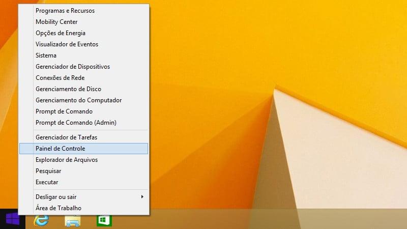 Use o menu Link Rápido para abrir o Painel de Controle no Windows 8.1