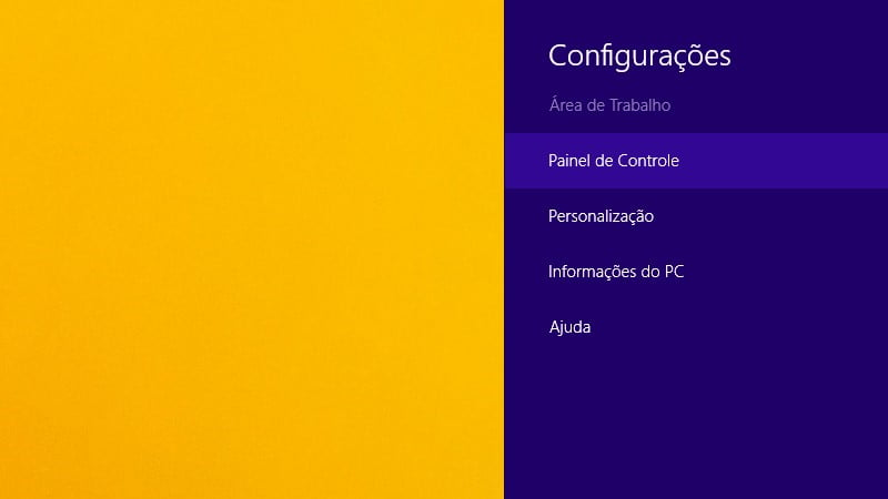 Use a Charms Bar para abrir o Painel de Controle no Windows 8.1
