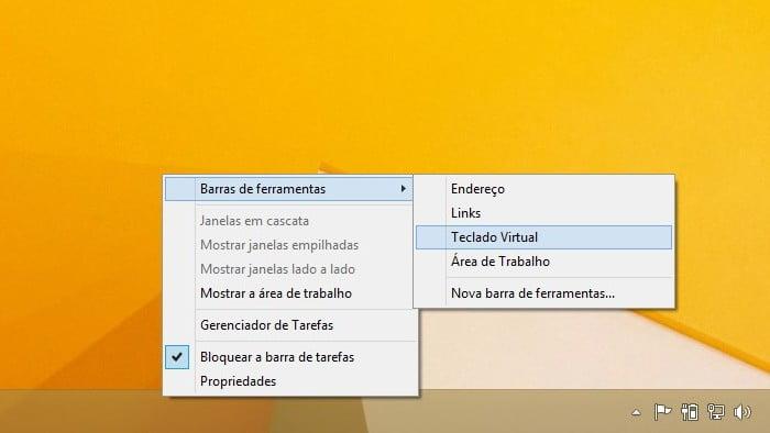 Adicionando o teclado virtual na barra de tarefas do Windows 8.1