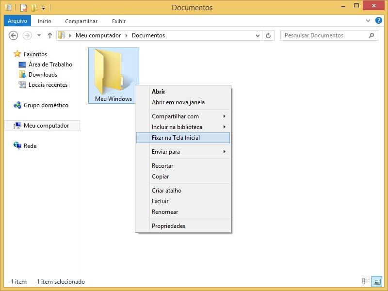 Como fixar pastas na Tela Inicial do Windows 8.1