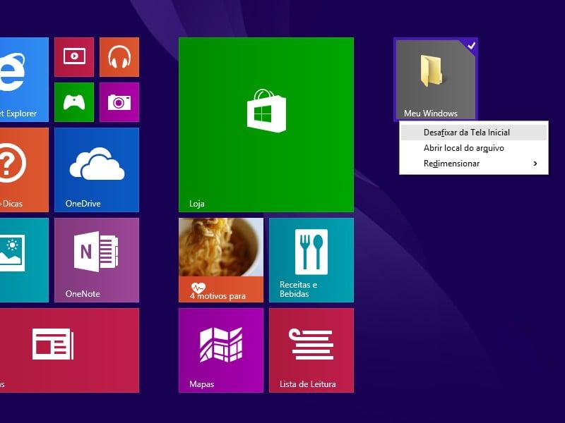 Como desafixar pastas da Tela Inicial no Windows 8.1