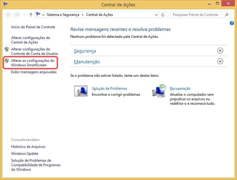 Alterar as configurações do Windows SmartScreen no Windows 8.1