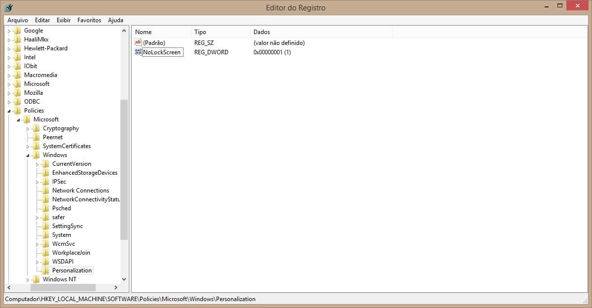 desativar tela de bloqueio do windows 8.1