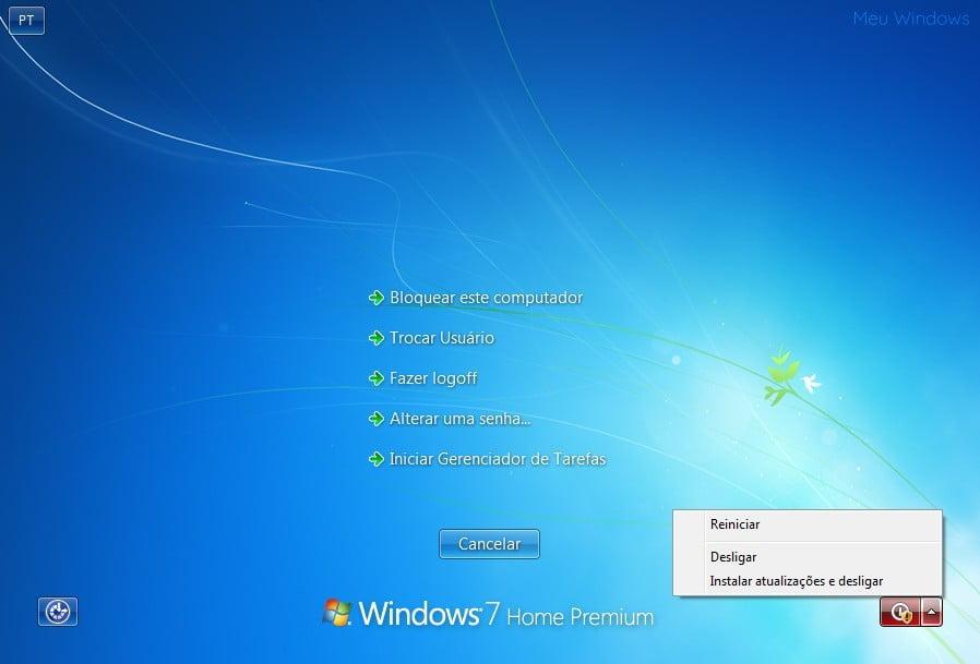 Desligar o Windows 7 sem instalar atualizações usando Tela de Segurança.
