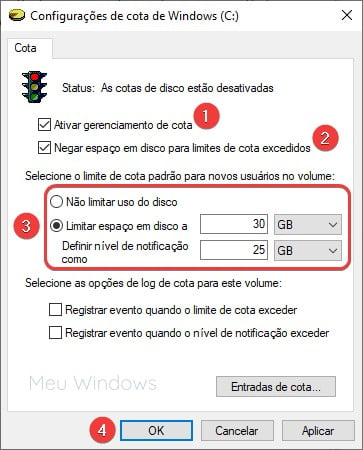 Como criar cotas de espaço em disco no Windows 10, 8, 7 3