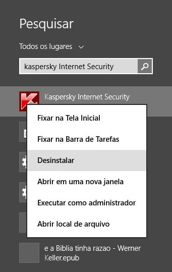 Desinstalar o Kaspersky no Windows 8.1.
