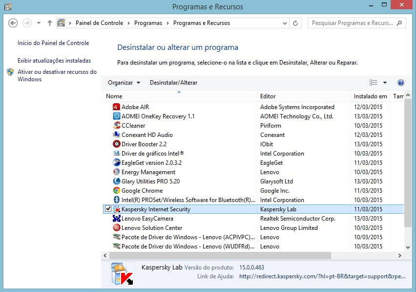 Desinstalar o Kaspersky no Windows 7.