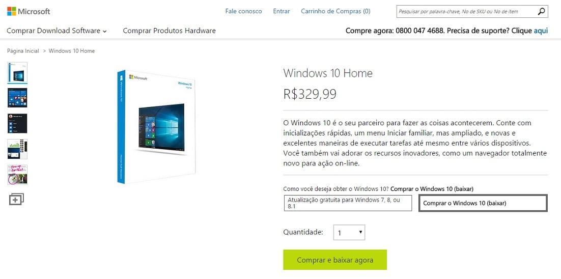 Preço oficial do Windows 10 Home