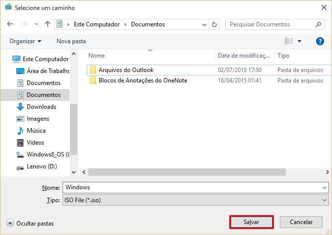 Salvar arquivo ISO