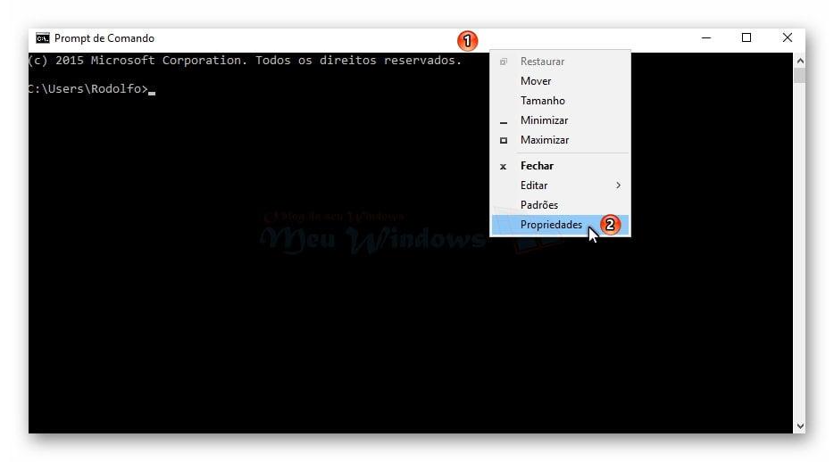 Prompt de Comando transparente no Windows 10