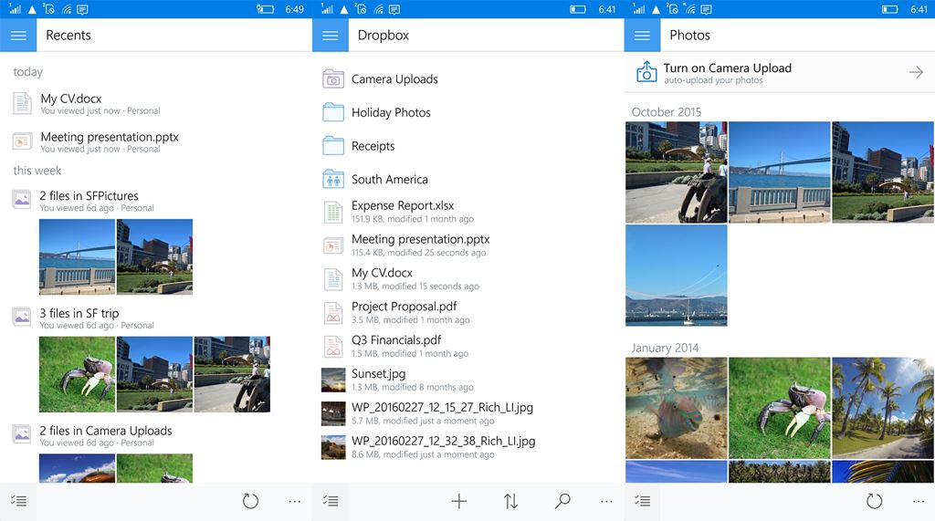 Dropbox Windows 10 Mobile