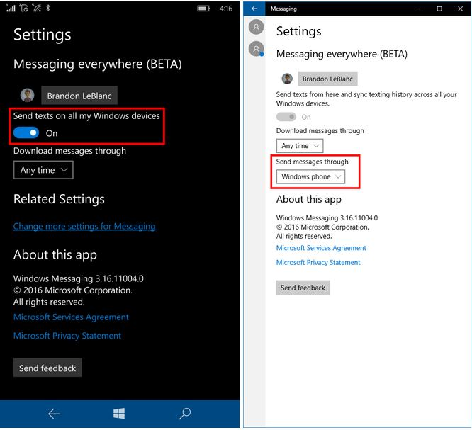 SMS no PC com Windows 10