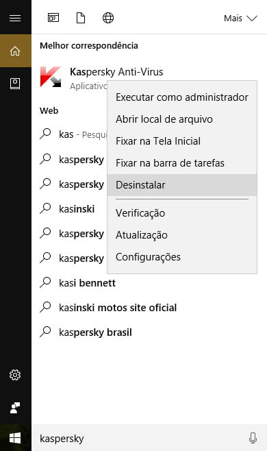 Desinstalar o Kaspersky no Windows 10.