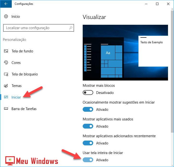 menu Iniciar em tela inteira no Windows 10