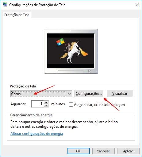 Fotos como proteção de tela
