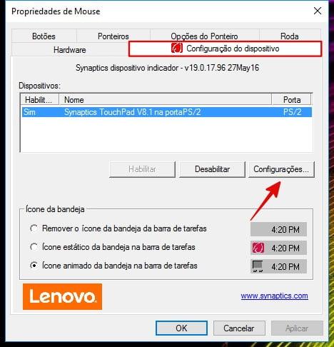 restaurar as configurações do Touchpad