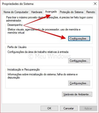 Desativar efeitos visuais do Windows