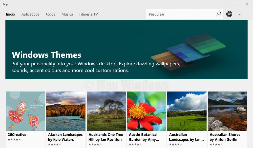 Temas da Windows Store