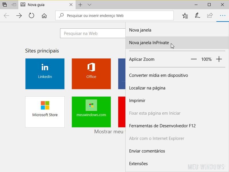 InPrivate no Microsoft Edge