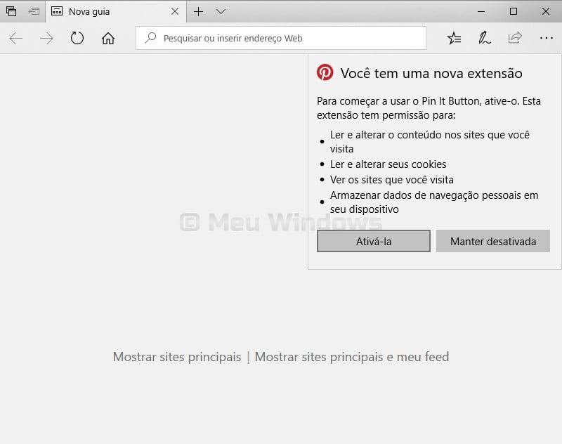 Extensões no Microsoft Edge