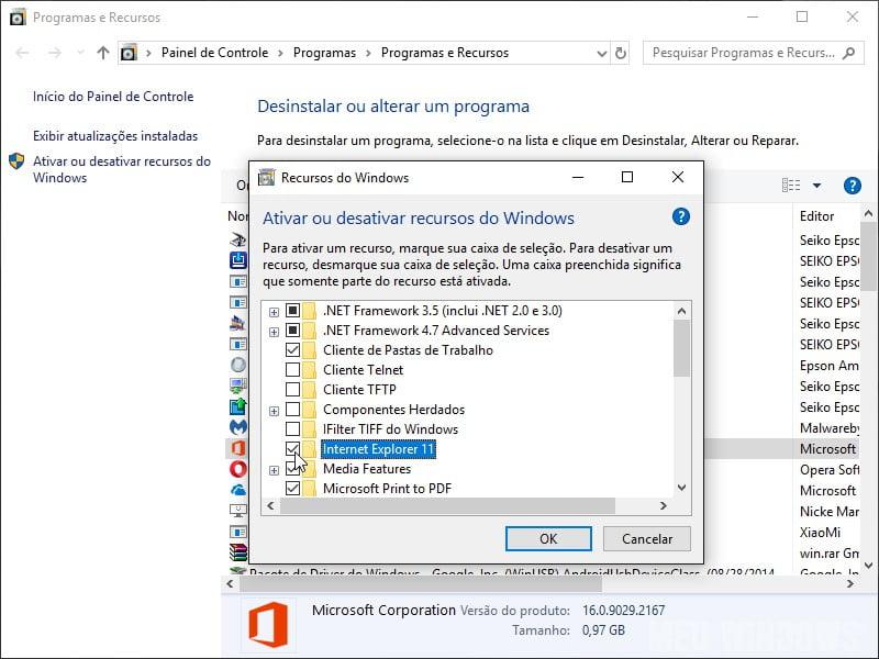 Desativar o Internet Explorer