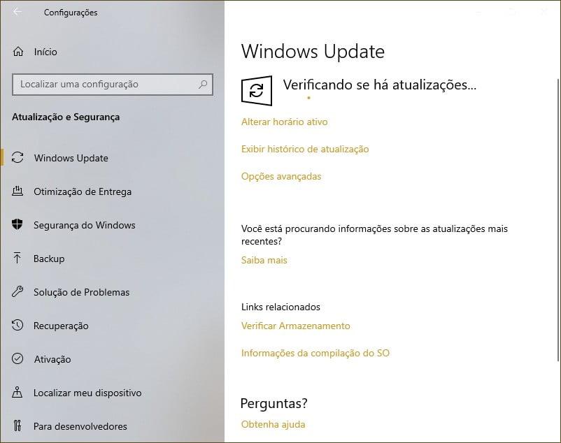 Obter a Atualização do Windows 10 de maio de 2019 via Windows Update