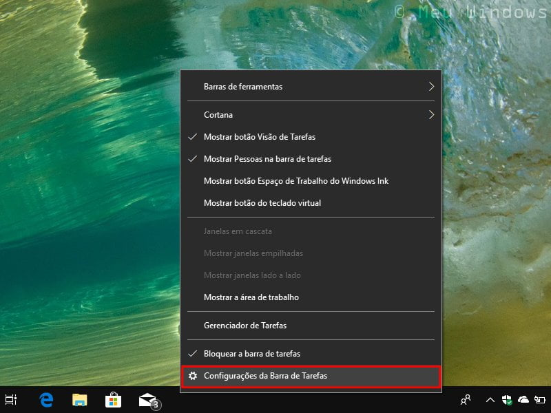 Ocultar automaticamente a barra de tarefas no Windows 10
