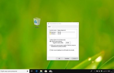 Alterar as propriedades da Lixeira no Windows 10