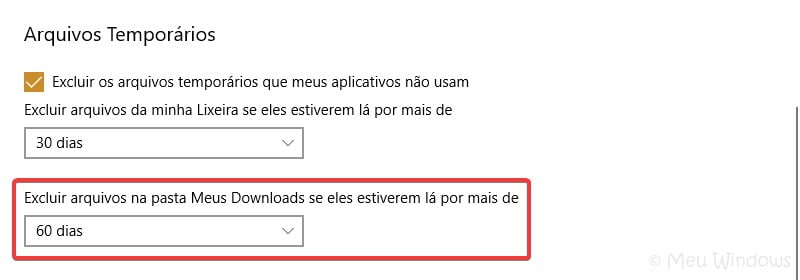 Sensor de Armazenamento do Windows 10