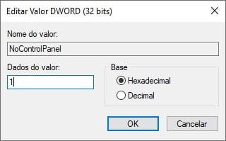 Bloquear acesso ao Painel de Controle e Configurações