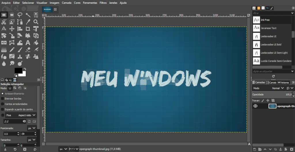 Meu Windows no GIMP
