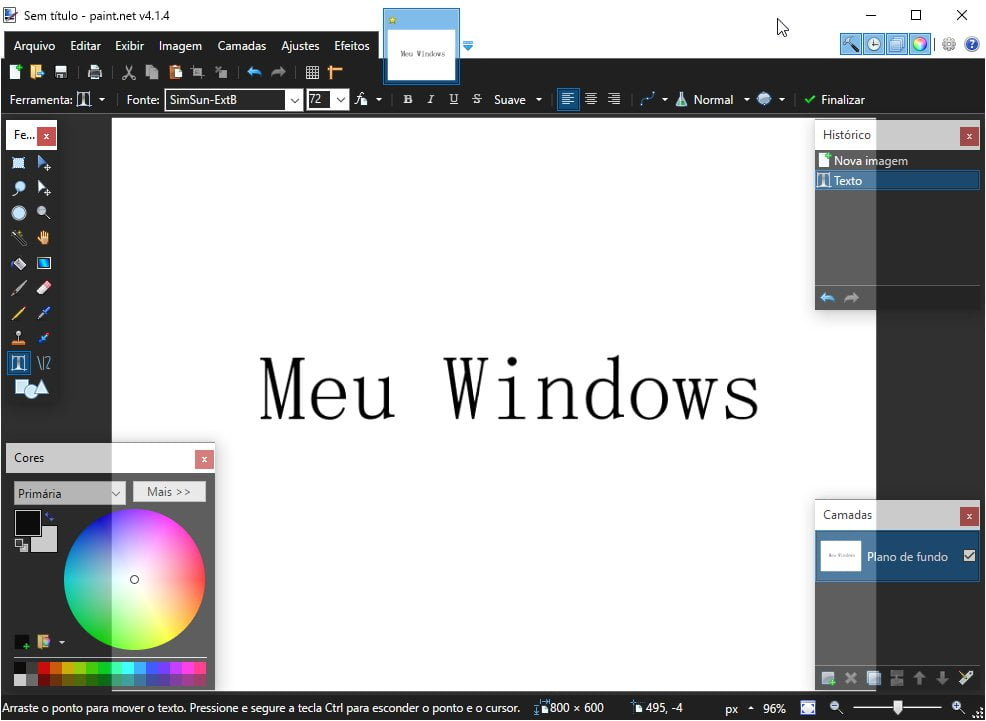Meu Windows no Paint.NET
