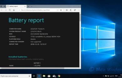 Como verificar a capacidade atual da bateria no Windows 10