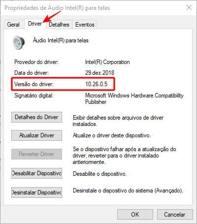 Verificando a versão atual do driver instalado no dispositivo.