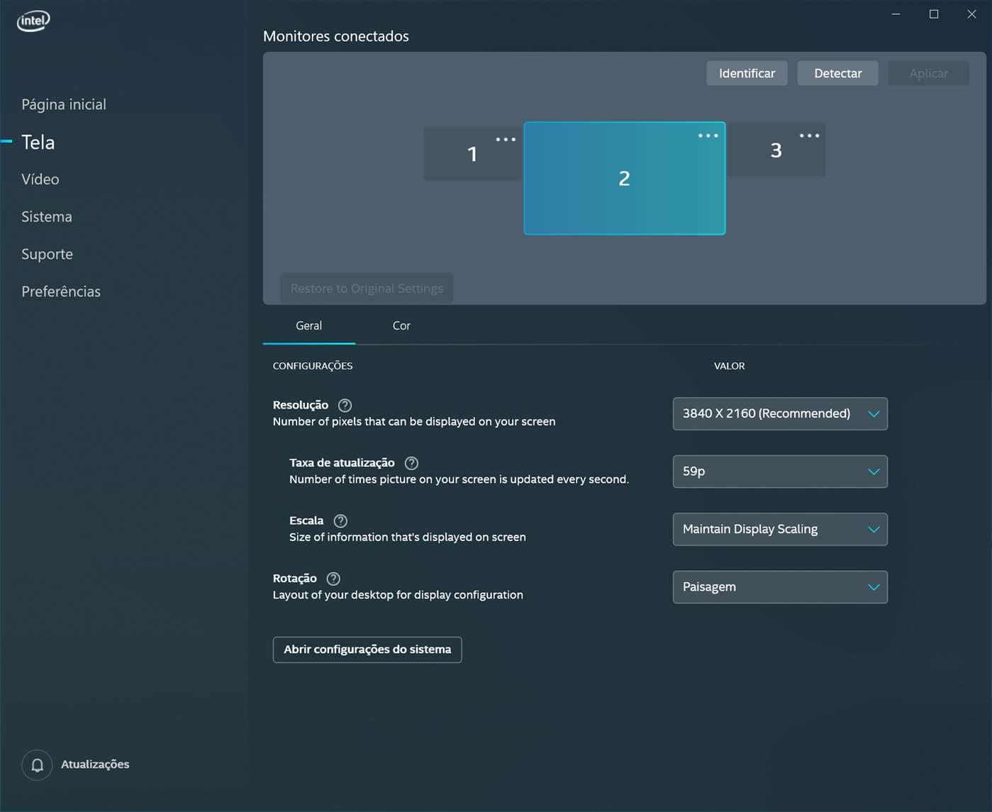 Configurações de tela no Centro de comando de gráficos Intel.