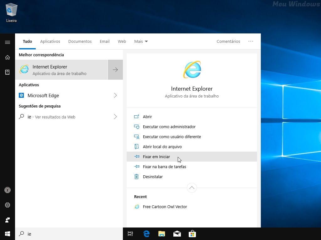 Fixar o Internet Explorer no menu Iniciar