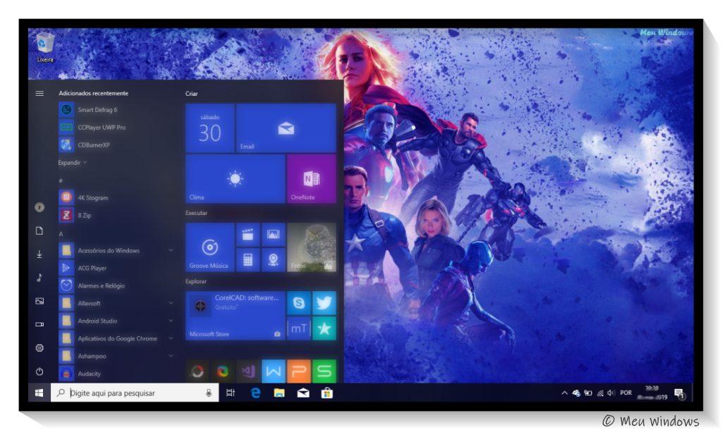 Tema Vingadores: Ultimato para Windows 10.
