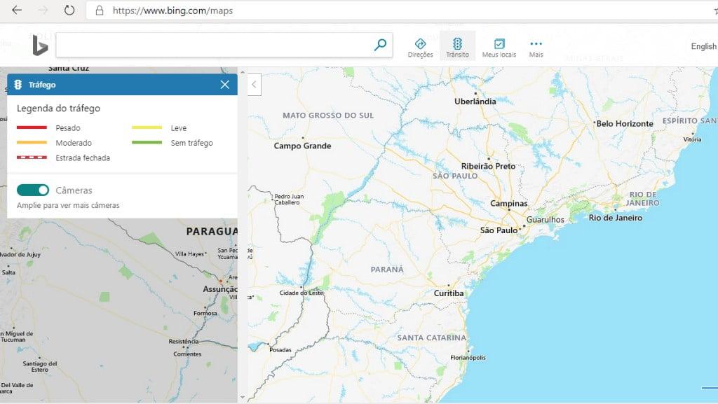 Opção transito da interface do Bing Mapas