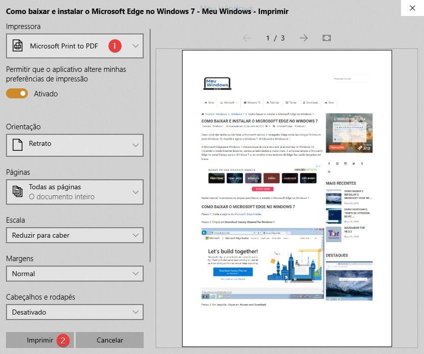 Selecione a opção Microsoft Print to PDF e clique no botão Imprimir.