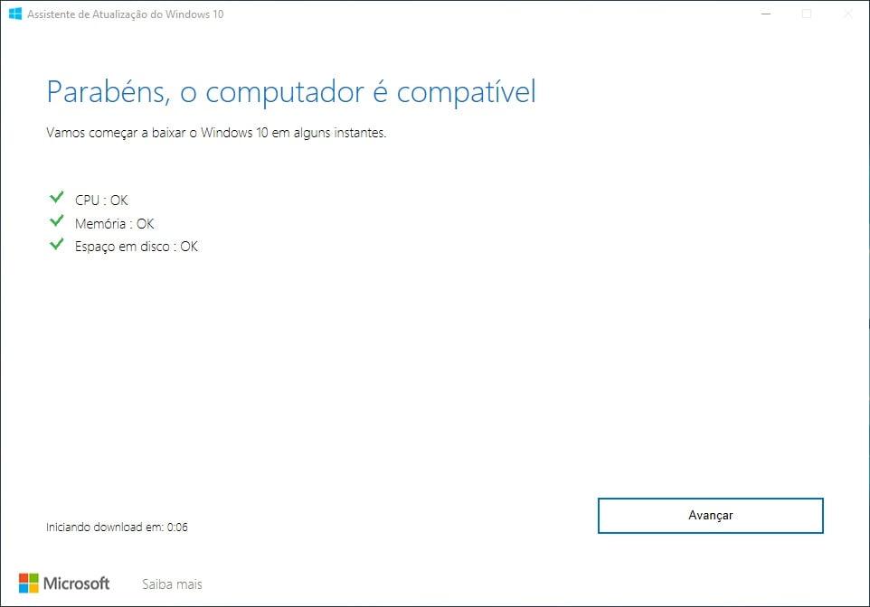 Computador compatível a Atualização do Windows 10 de maio de 2019.