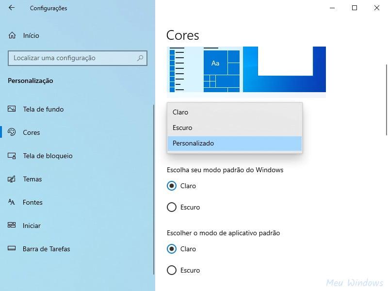 Personalizar o tema claro no Windows 10 usando as configurações de cores