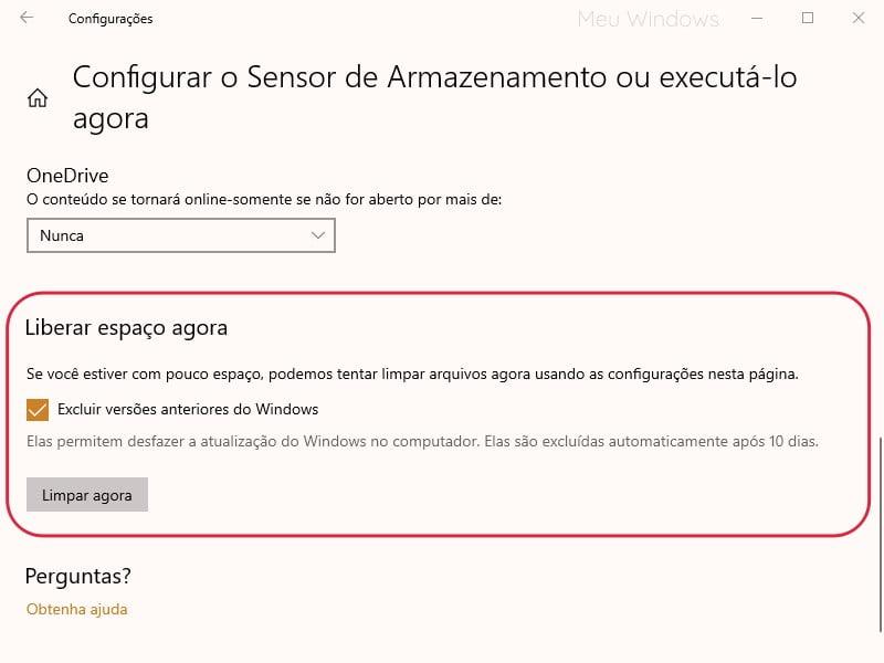 Imagem marcando a opção Excluir versão anterior do Windows e clicando no botão Limpar agora