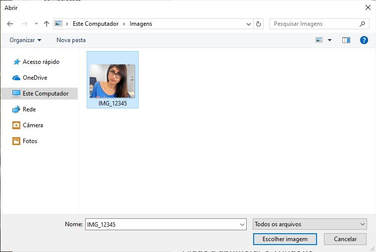 Captura de tela mostrando como escolher uma imagem