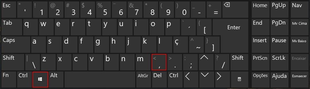 Segure a tecla de logotipo do Windows + vírgula para dar uma olhada rápida na área de trabalho.