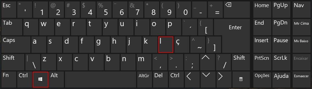 Bloqueie o seu PC ou mude de conta com a tecla de logótipo do Windows + L.